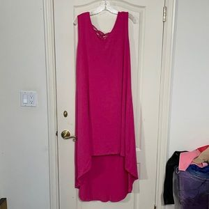 High Lo Dress with Cage Back - pink